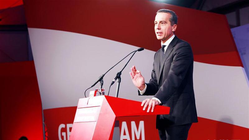 奥地利总理克恩出席社民党竞选集会