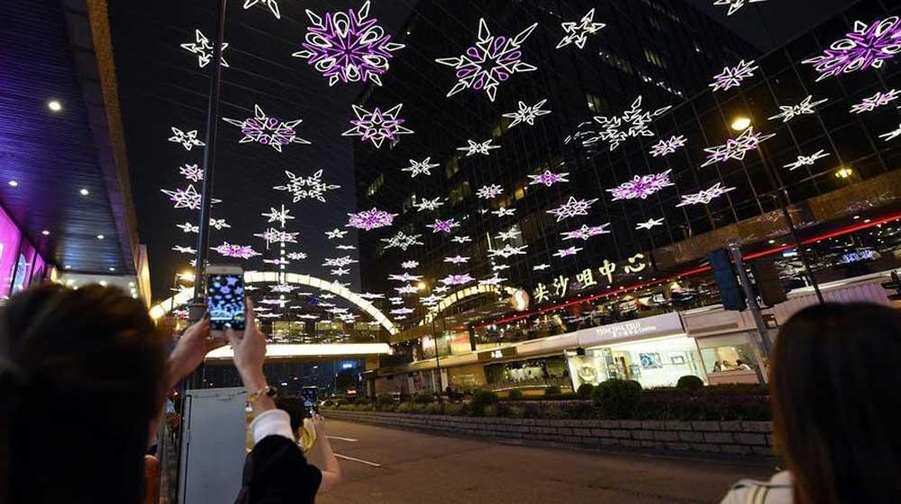 香港尖沙咀闪亮圣诞节灯饰