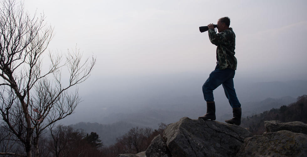 高山頂上的林場瞭望員