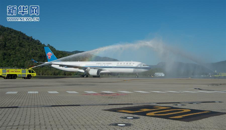 广州 凯恩斯/12月5日,中国南方航空公司广州至凯恩斯航线首班航班降落在...