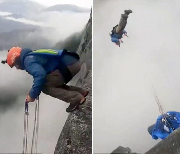 加拿大:跳伞达人悬崖边空翻下跳