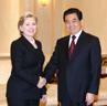 Le président Hu Jintao rencontre la secrétaire d'Etat américaine Hillary Clinton