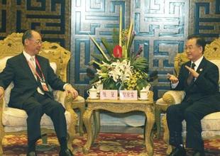 Wen Jiabao s'entretient avec Qian Fu