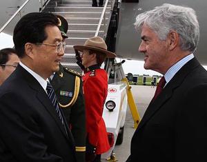 Hu Jintao arrive à Ottawa pour une visite d'Etat au Canada et le sommet du G20