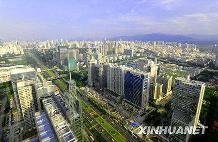 La ville de Shenzhen où se dressent de nombreux immeubles.