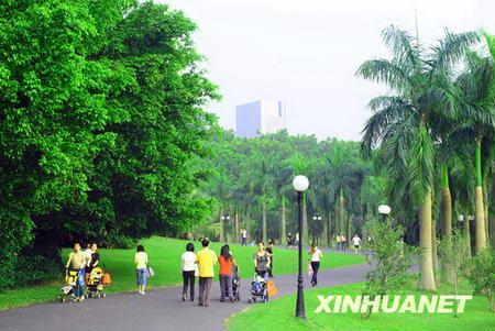 Des habitants flânent dans un parc à Shenzhen.