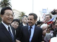 Hu Jintao et Nicolas Sarkozy à Nice