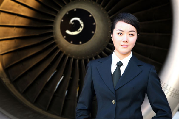 Wang Zheng, la seule femme capitaine volant sur Air China, et la plus jeune pilote de l'Administration de l'aviation civile de Chine.