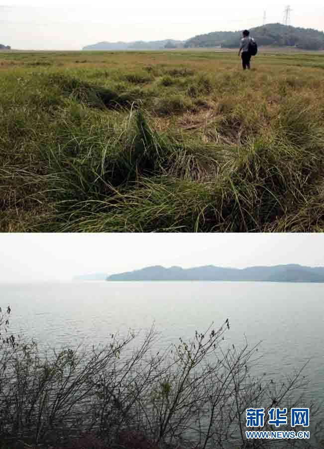 En haut : le 28 mai 2011, un photographe marche sur le lit exposé du lac Poyang à Jiujiang. En bas : le 27 juin 2010, le lac Poyang au même endroit.