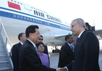 Arrivée du président chinois Hu Jintao à Los Cabos (Mexique) pour le sommet du G20