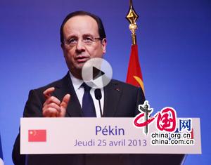 François Hollande : les relations sino-françaises doivent franchir une nouvelle étape