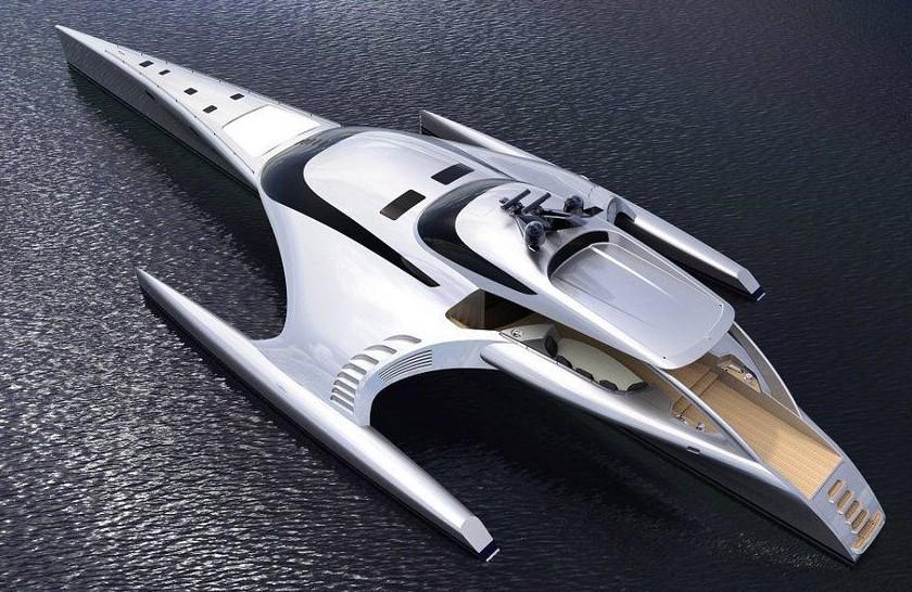 le plus beau yacht trimaran du monde est construit hong kong. Black Bedroom Furniture Sets. Home Design Ideas