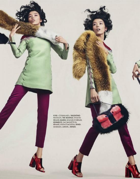 La top-modèle chinoise Sun Feifei illustre le magazine français Elle