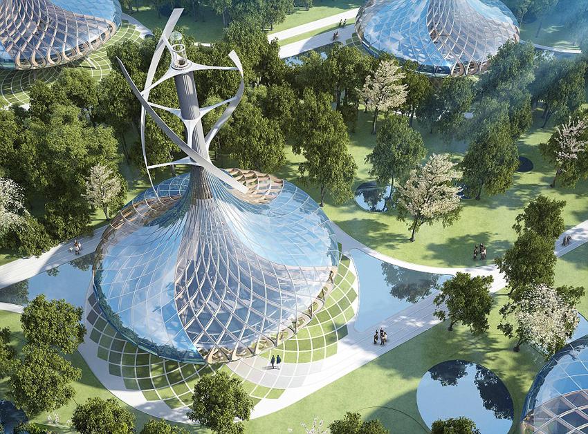 Un architecte belge con oit une ville cologique futuriste for Mountain designs garden city