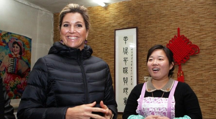 La reine Maxima des Pays-Bas en visite dans un restaurant de tourisme agricole à Beijing