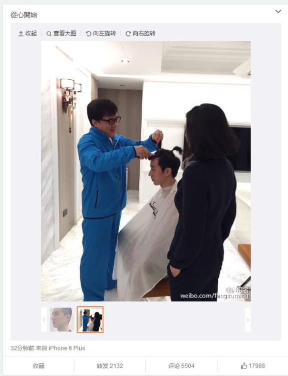 Jackie qui rase la tête de son fils