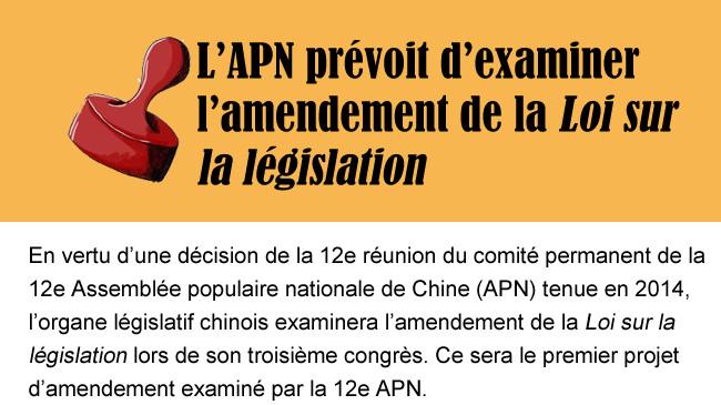 L'APN prévoit d'examiner l'amendement de la Loi sur la législation