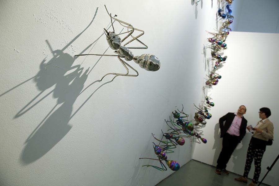 L'exposition de Chen Zhiguang au Today Art Museum de Beijing va en faire frissonner plus d'un. Des colonies de majestueuses fourmis, en acier inoxydable et de tailles diverses, ont envahi le sol et certains des murs, près du plafond. A l'extérieur de la galerie, une fourmi géante trône sur une partie inclinée du bâtiment, qui sert habituellement d'entrée au musée. Pour entrer, les visiteurs doivent passer sous le corps de l'insecte. « Pour la plupart des gens, les fourmis sont des choses minuscules, très banales et discrètes. Et l'acier inoxydable est généralement perçu comme un matériau ordinaire, qui n'est en principe pas utilisé pour évoquer quelque chose de grande qualité », a déclaré l'artiste de 52 ans. Or, selon lui, c'est en combinant ces deux perceptions ordinaires qu'il a pu insuffler de la noblesse tant à la créature qu'au matériau. C'est pour cela que Chen a baptisé son exposition « En toute dignité ». Par son œuvre, Chen prône le respect envers tous les êtres vivants, dont fait partie l'humble fourmi, et il invite le public à écouter la « voix » qui émane du fond de chaque insecte mis en scène. Chen a commencé à s'intéresser au thème des fourmis en 2003. A l'époque, ses sculptures dénonçaient le cynisme et l'agressivité. Mais ces dernières années, l'artiste a commencé à créer des installations mettant en scène des colonies de fourmis, auxquelles il a donné des couleurs variées.