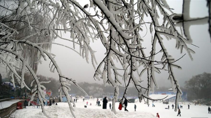 Beijing : le parc Longtan sous un manteau blanc