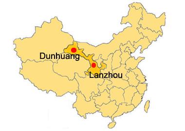 La situation géographique de Dunhuang en Chine