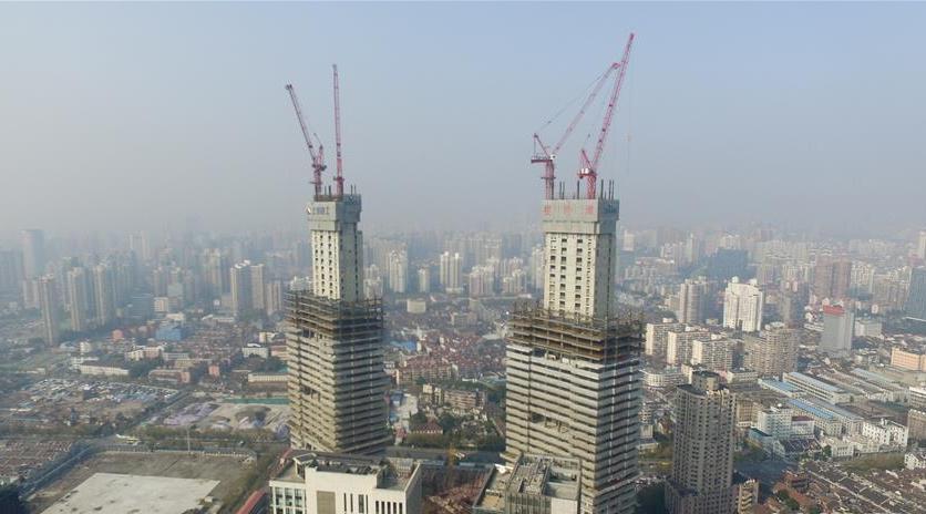 Les plus hautes tours jumelles de Shanghai vues du ciel