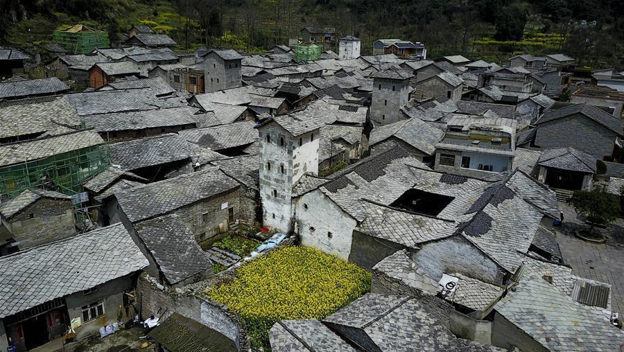 Guizhou : le vieux village de Benzhai vu du ciel