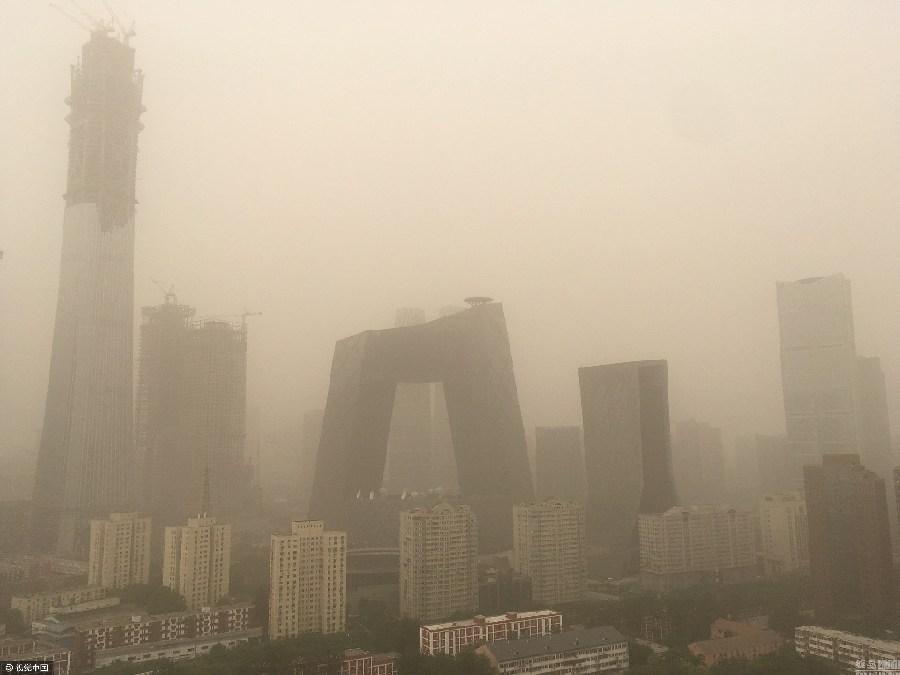 Photos : les bâtiments célèbres de Beijing « cachés » dans la tempête de sable