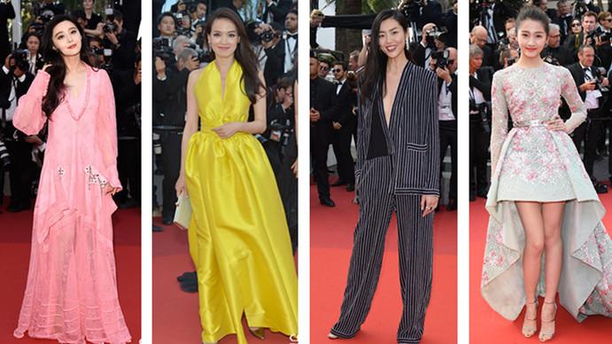 Quatre stars chinoises défilent sur le tapis rouge pour la soirée d'anniversaire du Festival de Cannes