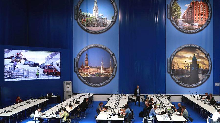 Photos : le centre de presse du 12e Sommet du G20 à Hambourg