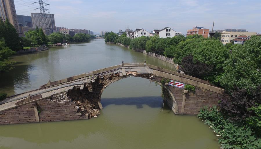 Hangzhou : un pont vieux de plus de 250 ans s'est effondré à cause de fortes pluies