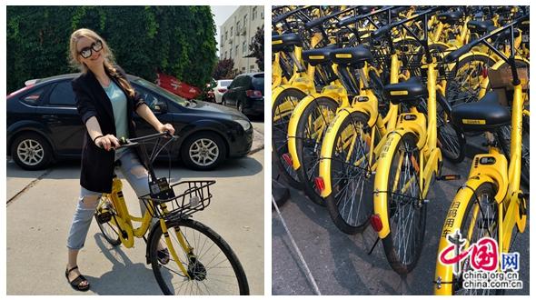 Rencontre d'une jeune femme russe avec les vélos partagés