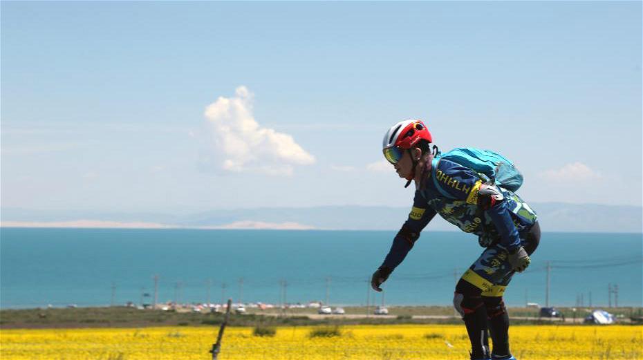60 patineurs promeuvent les idées vertes près du lac Qinghai