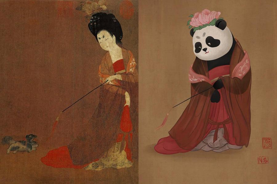 Quand le panda chinois s'invite dans des peintures célèbres…