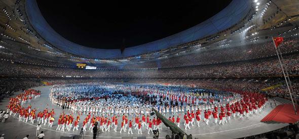 Olympische Sportler kommen ins Vogelnest