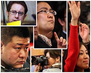 Mimik der Journalisten auf den Tagungen 2009