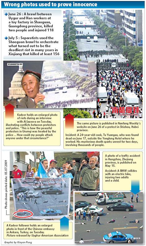 Rebiya Kadeer, Leiterin des separatistischen Weltkongresses der Uiguren und laut Polizeiangaben Anstifterin der Unruhen in ürümqi, versucht, die Sympathie der ?ffentlichkeit zu erlangen – unter Verwendung falscher Fotos über das Ereignis.