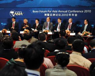 Vertreter aus verschiedenen Staaten besuchten am 10. April 2010 ein Forum namens 'Kohlenstoffarme Energien: Kann Asien die Welt führen?' auf der Jahreskonferenz des Boao Asienforumns 2010 in der gleichnamigen malerischen Stadt in der südchinesischen Inselprovinz Hainan.