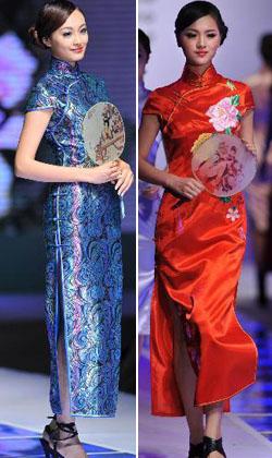 Models präsentieren Cheongsam Kreationen bei einer Modenschau in Qingdao, einer Stadt in der ostchinesischen Provinz Shandong.