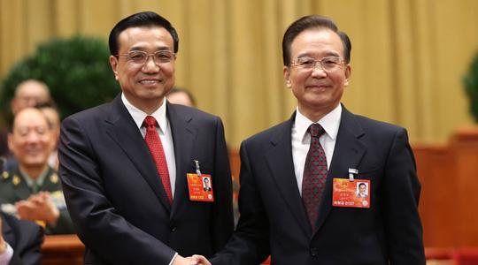 Auf der 5. Plenarsitzung der 1. Tagung des 12. Nationalen Volkskongresses (NVK) wurde Li Keqiang zum Ministerpräsidenten des Staatsrats gewählt. Außerdem wurden Fan Changlong, Xu Qiliang zu Vizepräsidenten des Zentralen Militärkomitees der Volksrepublik China gewählt.