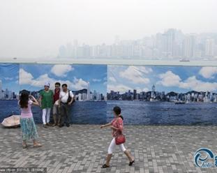 Smog in Hongkong: Touristen machen Fotos von 'blauem Himmel'