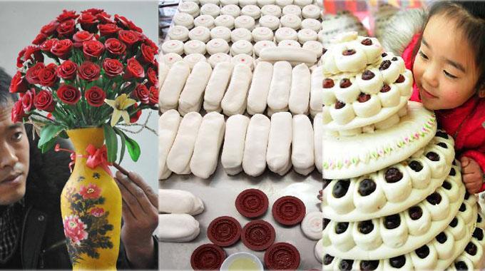Traditionelle Spezialitäten verschiedener Regionen zum Frühlingsfest