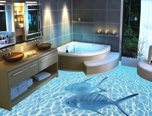 3D-Boden bietet Wow-Effekt im Badezimmer_China.org.cn