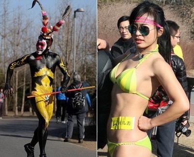 Am Sonntag fand im Olympischen Waldpark, der im Norden der chinesischen Hauptstadt liegt, abermals ein 'Nackte-Schweine-Lauf' statt. An diesem 3,5 Kilometer langen Wettlauf nahmen über hundert Beijinger teil.