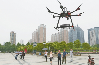 A drone is utilized to fight exam cheating in Luoyang city, Central China