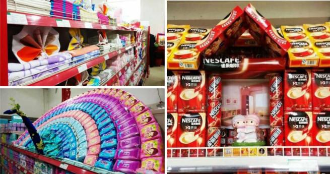 Wettbewerb für kreatives Auslegen von Waren im Supermarktregal