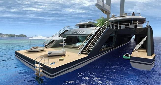 Hybrid-Luxusjacht mit Pool und Baum