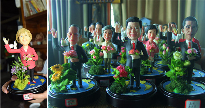 Künstlerin aus Hangzhou fertigt Figuren der G20-Spitzenpolitiker aus Reis an