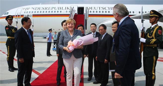 Bundeskanzlerin Angela Merkel in Hangzhou eingetroffen