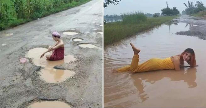 Protest gegen holprigen Weg: Frauen baden in Pfützen