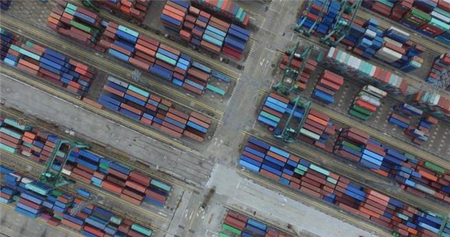 Blick auf die Shanghai Freihandelszone aus der Vogelperspektive